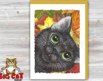 CAT CARD. Autumn Cat. Big Eye Black Cat with fall leaves. Cat Greeting Card.  Black Cat Notecard.