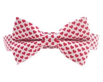 Red Hearts Valentine's Day Dog Collar Bow Tie Set- Removable Bowtie