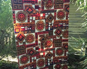 Vintage 1960's Aztec Design Fabric Scrap