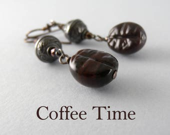 Coffee Lovers Gift Handmade Glass Coffee Bean and Bali Oxidized Sterling Silver Brown Glass Earrings
