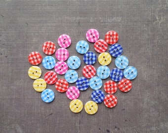 40 buttons multicolored checked gingham 1,2 cm