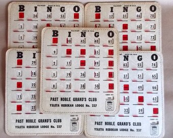 5 Vintage BINGO Cards W/ Sliding Red Windows Circa 1950's  Nice!