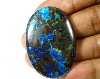 Azurite Cabochon. Natural Azurite Cabochon. Fabulous! 58 Cts. Azurite Gemstone. 42x19mm Oval Azurite jewelry use. Blue Azurite loose KB-265