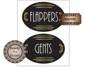 Flappers Gents Restroom Door Signs Printable Art Deco Roaring 20s Gatsby Era Prohibition Speakeasy Ladie's Men's Room Party Wedding Decor