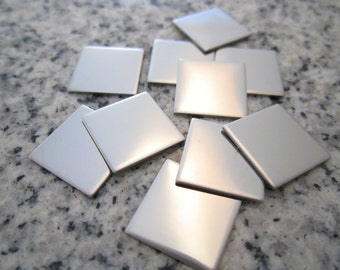 "1/2"" (13MM) Square Stamping Blanks, 22g Stainless Steel - AWESOME Silver Alternative S04"