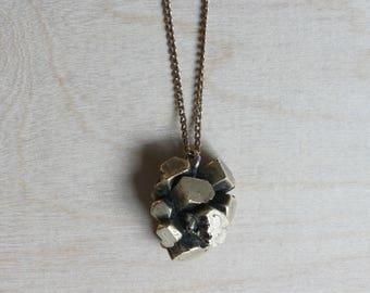 Aragonite Crystal Pendant - Cast Brass
