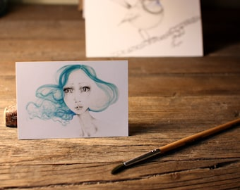"Art ACEO Print ""Summer"" Fine Art ACEO Print of my original Watercolor Painting Pencil Drawing Collectible Mini Artwork"