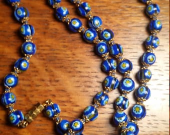 SALE! Exquisite Vintage Venetian Millefleurs Azure Beaded Necklace