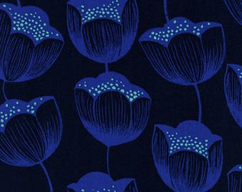 Cotton + Steel - Magic Forest Collection - RAYON Tulips in Navy