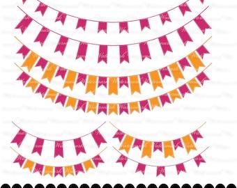 Orange Pink Banner clip art - fuscia ribbon clipart graphics, ribbon bunting scrapbook orange : c0248 3s0638