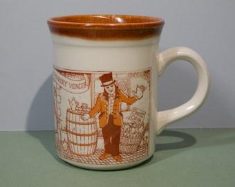 Vtg 1990s 8oz Bilton Ceramic Coffee Cup Staffordshire England Made Orange Street Vendors Breakfast Lunch Dinner Mug Tree Stoneware Tableware