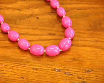 """Vintage Pink and Gold Oval Beaded Necklace  24"""""""