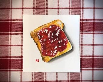 Toast with Strawberry Jam, Original Watercolor