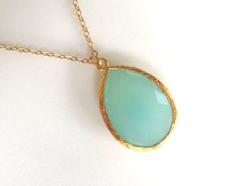 Aqua Chalcedony Necklace, Large Aqua Chalcedony Necklace, Aqua Faceted Teardrop Gold Filled Chain, Bridesmaids Jewlery