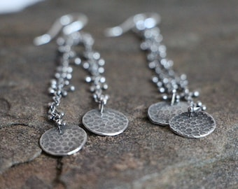 raw silver earrings. chain earrings. dangling. balled wire chain and discs earrings