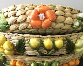 Vintage Colorful Casserole Carrier Basket Set /  Wicker Woven with Yellow and Orange Raffia Flowers  / Pyrex Covers / Picnic Supply