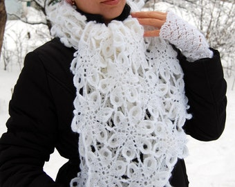 Winter's set Women's Scarf Fingerless Gloves White Scarf Lace Scarf Crochet Scarf Knit Scarf Winter Scarf Warm Scarf Crochet Gloves Mittens