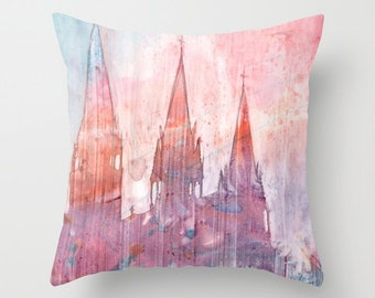 Old City Gothic Cathedral Watercolor Throw Pillow Cover