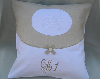 Cloth and monogrammed old and hand painted sign pillow cover