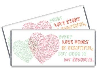 Set of 12 - Love Story Wedding Candy Bar Wrappers - Personalized Chocolate Wedding Favors