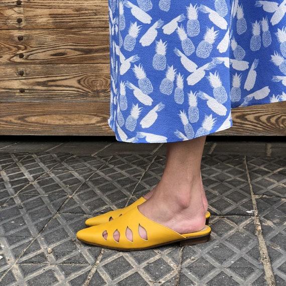 Flats Sandals Women's Shoes Shoe Slide Shoes Mule Slides Leather Flats Mule Shoes Slide Yellow Shoes Leather Leather Women's Summer 7q5wvx4I