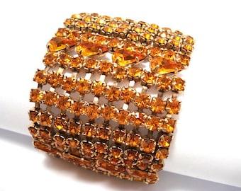Vintage Wide Tangerine Orange Rhinestone Bracelet - Wide Rhinestone Bracelet - Orange Jewelry - Vintage Bracelet - Vintage Jewelry