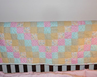 PINK & AQUA Baby Quilt