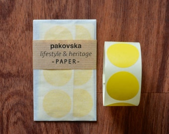 Round yellow sticker labels, medium sized, 30mm, geometric shape, envelope seals or birthday supplies 50pcs