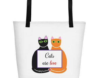 Cats are love Beach Bag