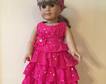 American Girl Pink Sparkle Ruffle Dress Set