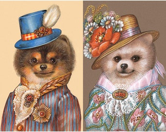 Sweet Pom Couple - 2 Art Prints - Dandy and Lady Wildflower - Funny Pet Portraits by Maria Pishvanova