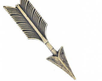 Arrow Charm, 42mm brass stamped, sold by 3 each, 02809AG