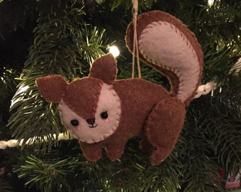 Felt Squirrel Ornament, woodland creature, nursery, decoration, christmas, holidays