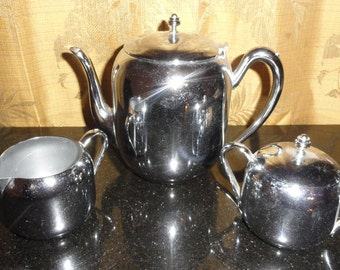 Art Noveau Forbes Silver Company K S International Meriden Brittania Co. Silver Plated Co. Silver Plated On Copper 3 Pc. Tea Set