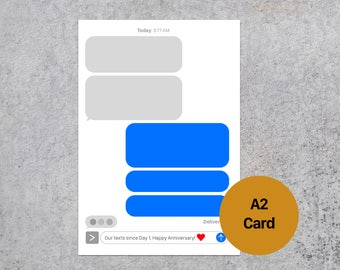 iMessage iPhone Text Messages - Happy Anniversary  Love Celebrations Relationship - Blank Greeting Card