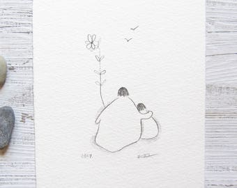 mother and child drawing, father and child pencil illustration, nursery art, gift for new parent, ORIGINAL sketch