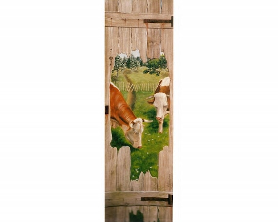 toile d corative murale les vaches peinture originale. Black Bedroom Furniture Sets. Home Design Ideas