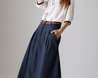 navy skirt, maxi skirt with pockets, patchwork skirt, linen skirt, fashion clothing, high waisted skirt, fall skirt, gift ideas  (871)