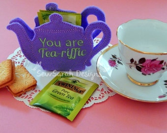 In The Hoop You Are Tea-Riffic Tea Pot 3D Tea Bag Holder (6x10) Instant digital download