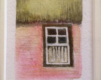 Original, miniature, watercolor paintings, reminiscent of family homes and neighborhoods across the USA.