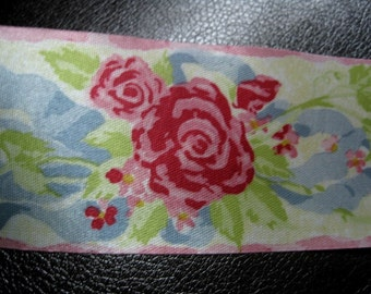 Vintage McGinley Mills Floral Ribbon, 3 Yards. Looks Like Antique Watered Silk Ribbon, Lovely Sheen