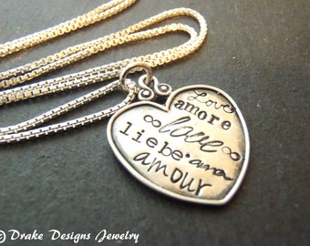love necklace sterling silver heart necklace amour liebe amore love in different languages