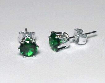 Green Emerald Earrings Sterling Silver / Silver Emerald Stud Earrings