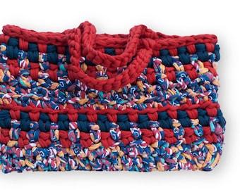 Handbag - Shoulder bag - Knitted bag - Trapilho cotton ribbon hook bag - Women bag - Shopping bag - Basket