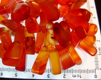 Carnelian Nuggets/Chips Gemstones approx. 40 grams Top Drilled from 12 x 5mm to 18 x 8mm Approx. #S7