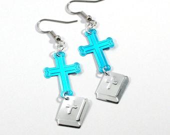 Religious Earrings Blue Crosses & Silver Bibles Dangle Plastic Sequins