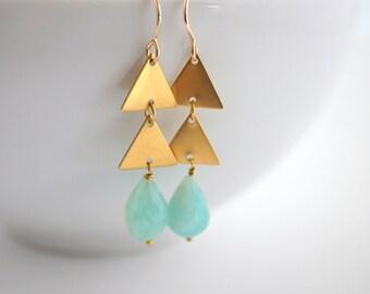 Geometric Brass Earrings, Brass Triangle Earrings, Peruvian Opal Earrings, Geometric Dangle Earrings, Triangle Dangle Earrings