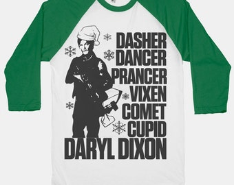 Daryl Dixon Walking Dead Christmas Shirt. Christmas tshirt. Christmas Shirt. Christmas baseball tee. The Walking Dead Shirt.
