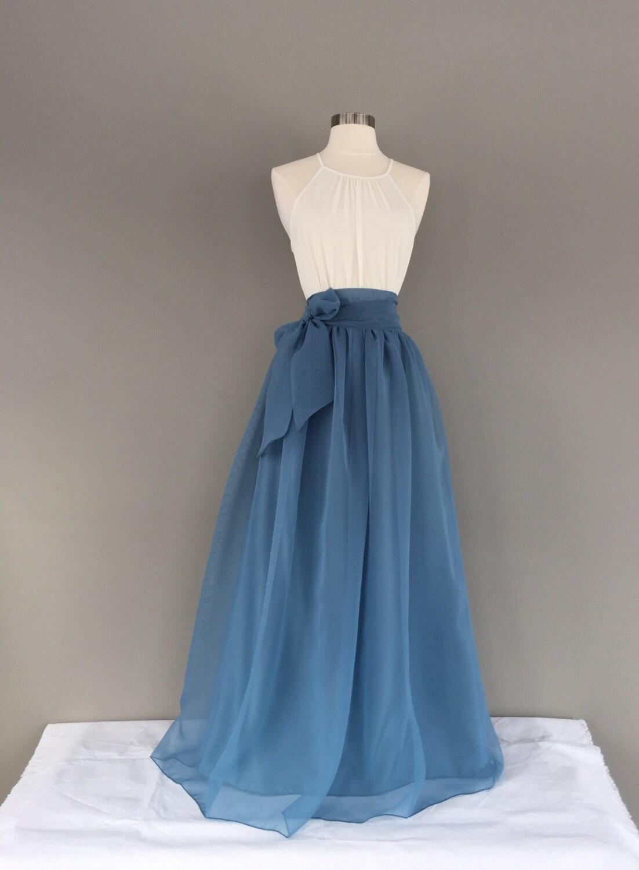 BLUE STONE Chiffon Skirt any length and color Bridesmaid