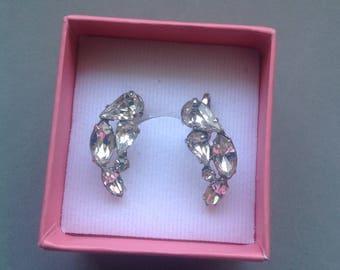Crescent Shaped Silver and Rhinestone Earrings/ Kramer of New York/ Screw-back Earrings/ Wedding Jewellery/ Vintage Bling - 1960's